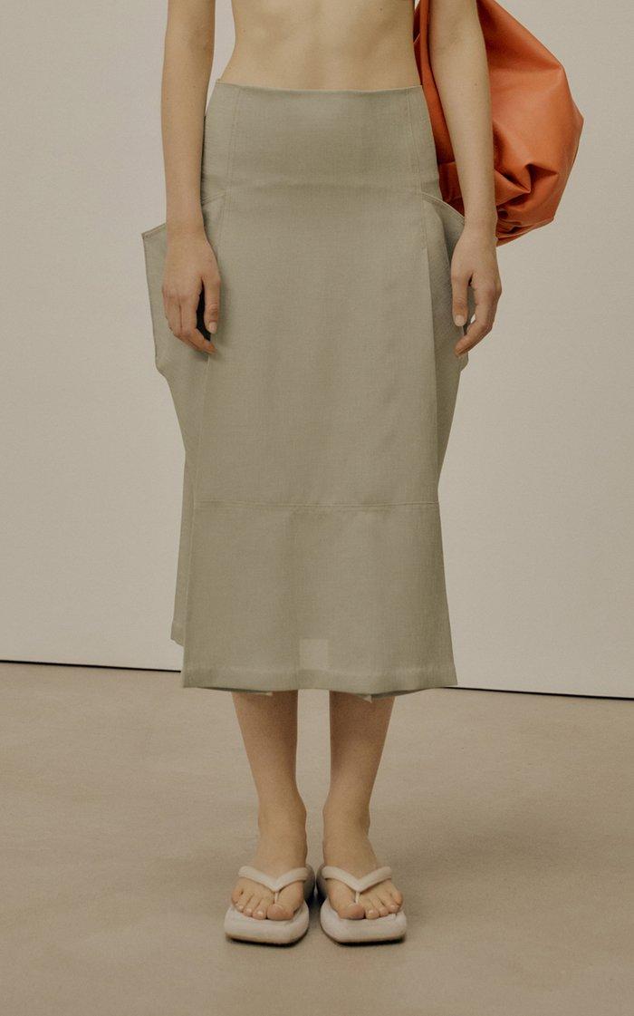 Pocket-Detailed Crepe Midi Skirt