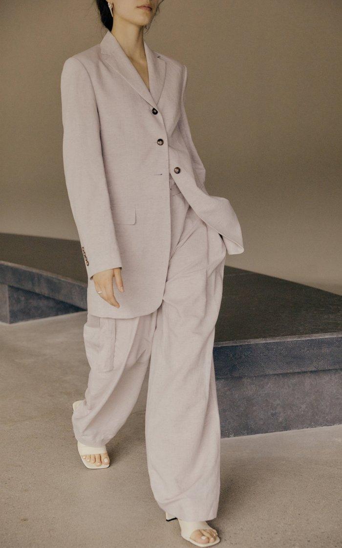 Long Cotton-Linen Blazer