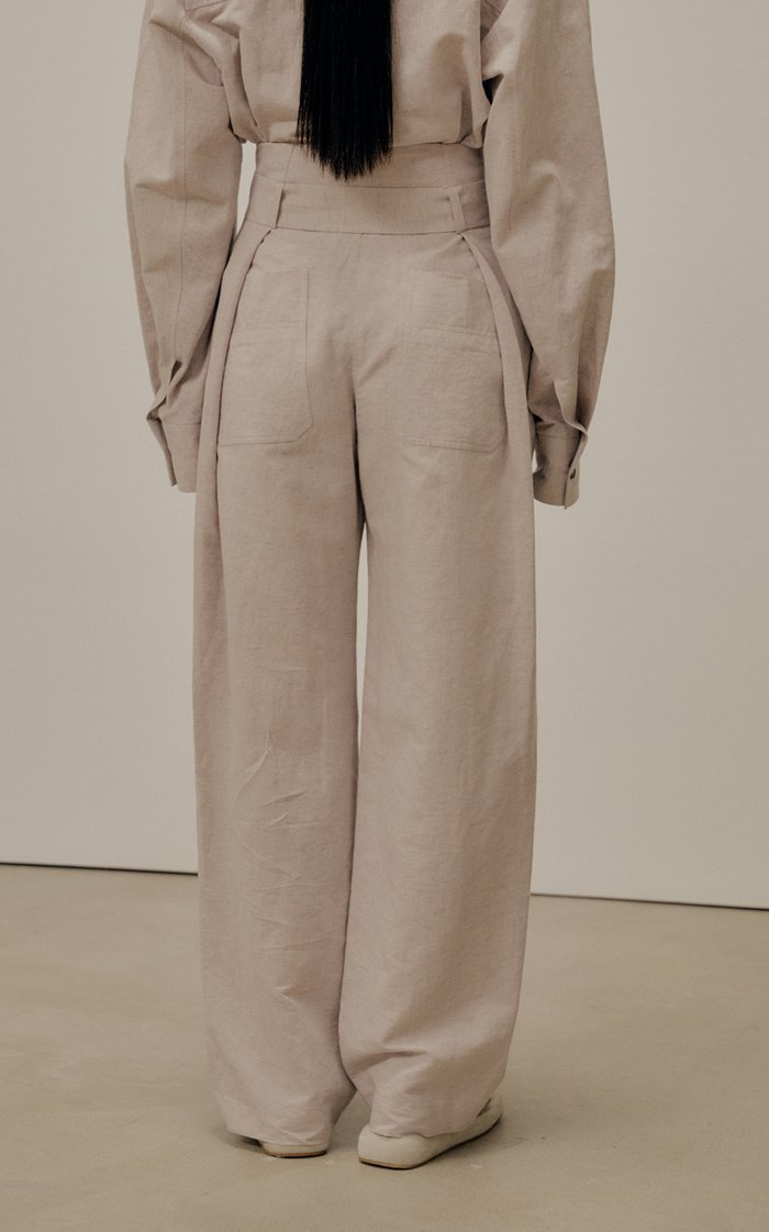 Pleated Cotton-Linen Wide-Leg Trousers