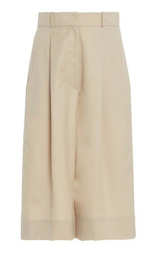 Pleated Wool Knee-Length Shorts
