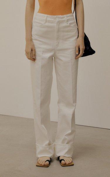 Elongated Rigid High-Rise Straight-Leg Jeans