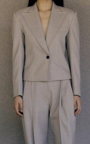 Cropped Wool-Blend Blazer