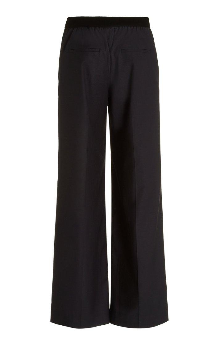 Pleated Wool-Blend Wide-Leg Trousers