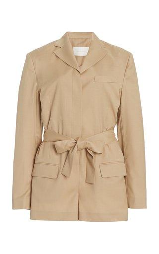 Belted Wool-Blend Blazer Jumpsuit