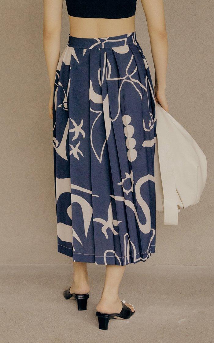 Pleated Printed Crepe Midi Skirt