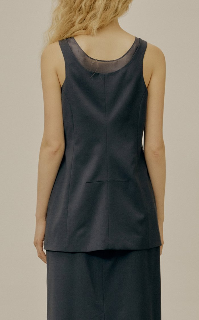 Organza And Wool-Blend Layered Vest