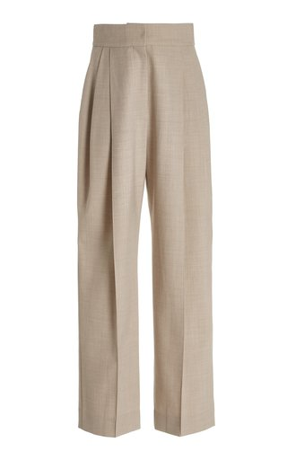 Pleated Wool-Blend Straight-Leg Trousers