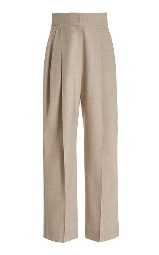 Pleated Wool-Blend Straight-Leg Trousers