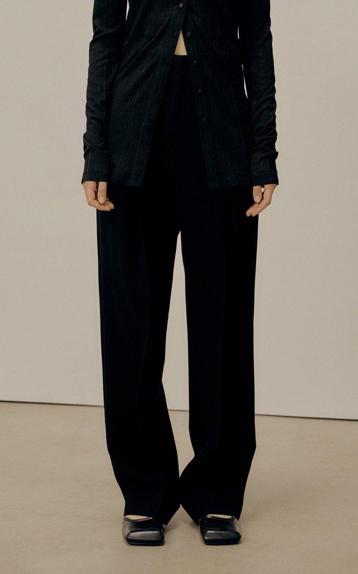 Pleated Wool-Blend Straight Leg Trousers