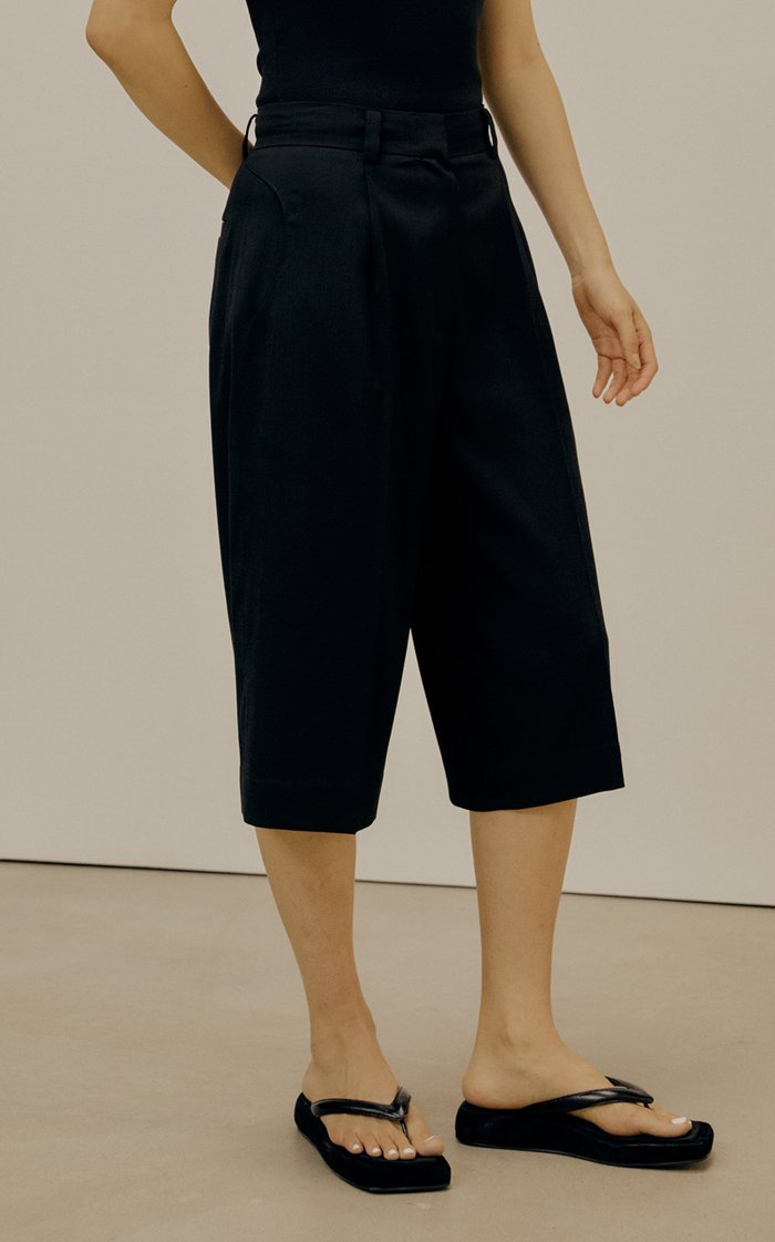 Pleated Crepe Knee-Length Shorts