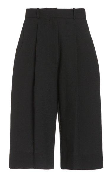 Pleated Crepe Knee-Length Shorts