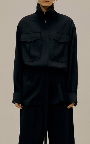 Belted Crepe Zip-Front Jacket