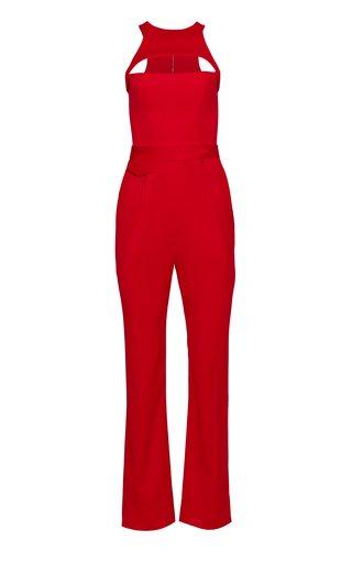 Racerback Straight-Leg Wool Cutout Jumpsuit