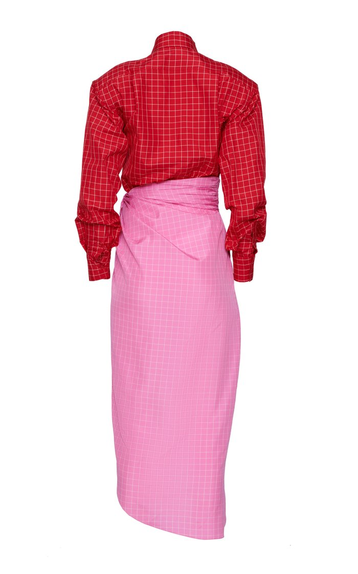 Colorblock Windowpane Cotton Shirt Dress