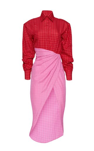 Colorblock Windowpane Cotton Shirt Dress