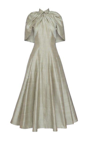 Gingham Silk Caplet Midi Dress