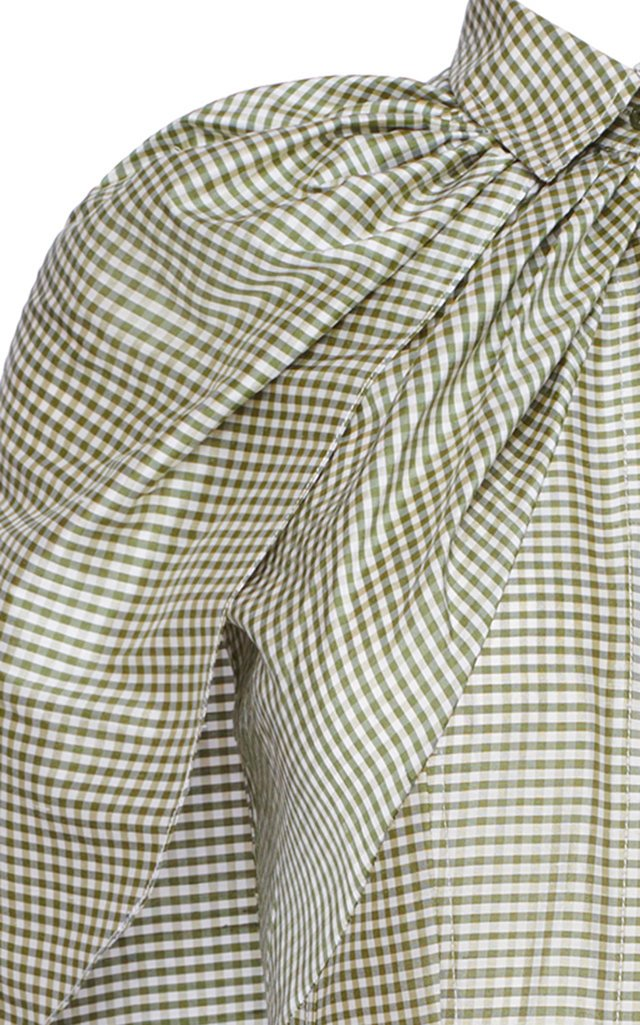 Gingham Silk Caplet Midi Dress