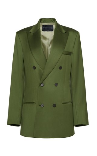 Wool Satin Faille Double-Breasted Blazer