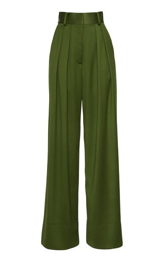 Wide-Leg Wool Satin Faille Pants