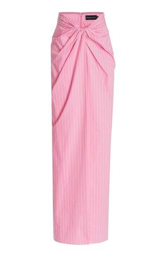 Pinstriped Cotton Maxi Wrap Skirt