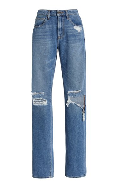 Distressed Rigid High-Rise Boyfriend Jeans