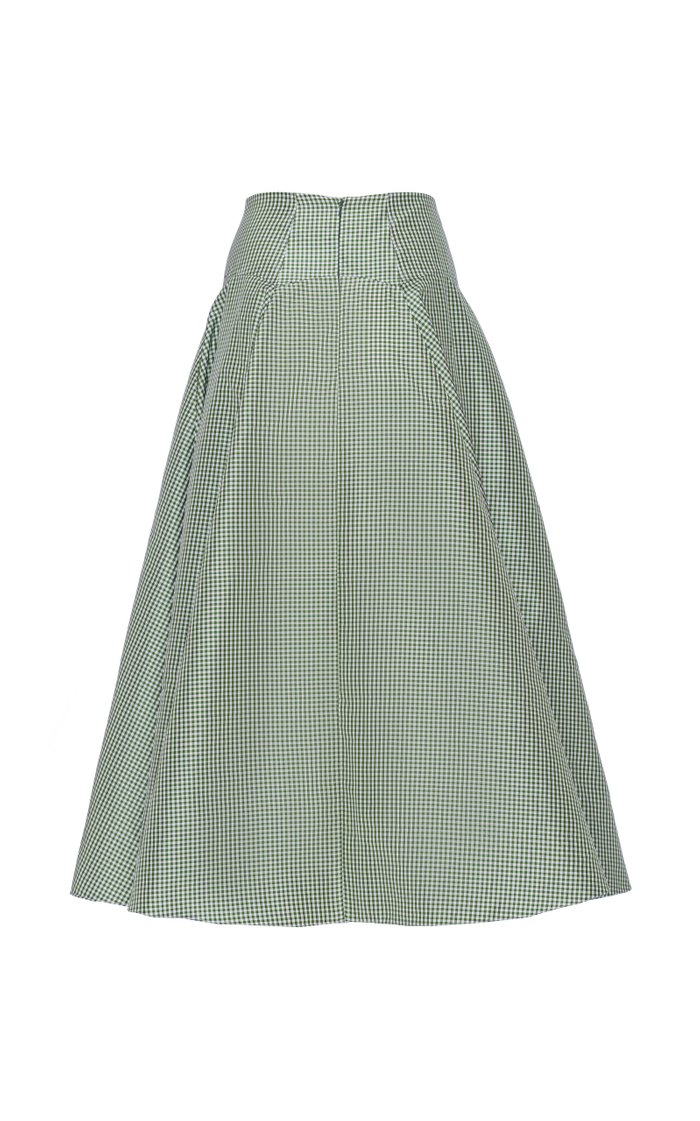 Gingham Shantung High-Rise A-Line Skirt