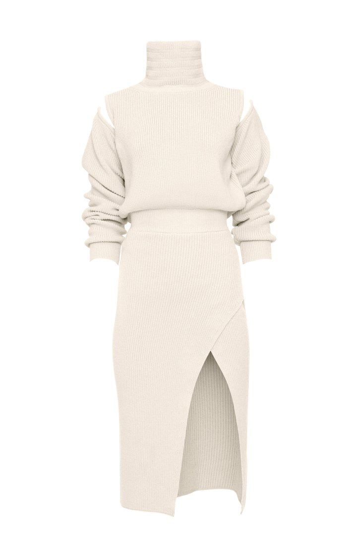 Cutout Knit Wool-Blend Midi Dress