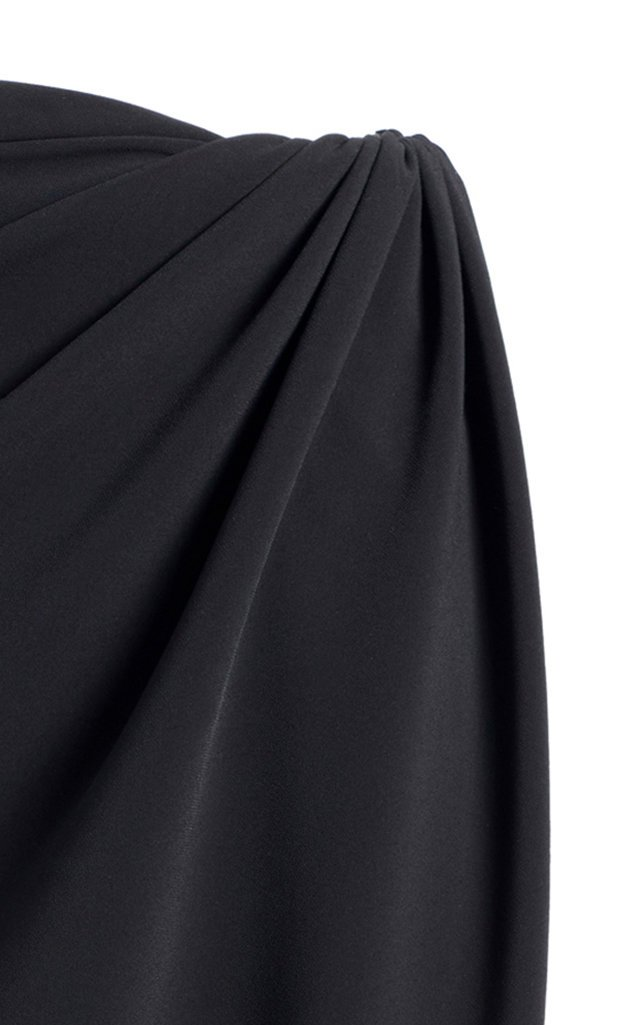 High-Rise Stretch Crepe Wrap Skirt