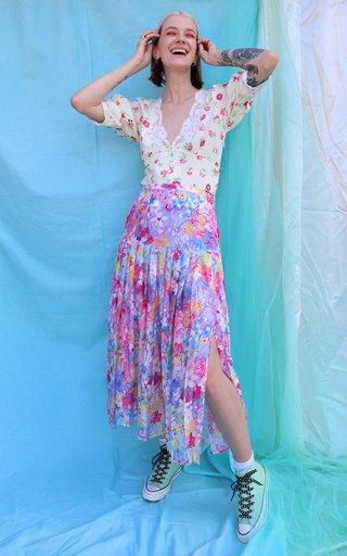 Tina Pleated Printed Cotton-Silk Midi Skirt