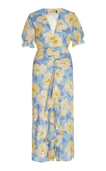 Ariel Ruched Floral Cotton-Silk Maxi Dress