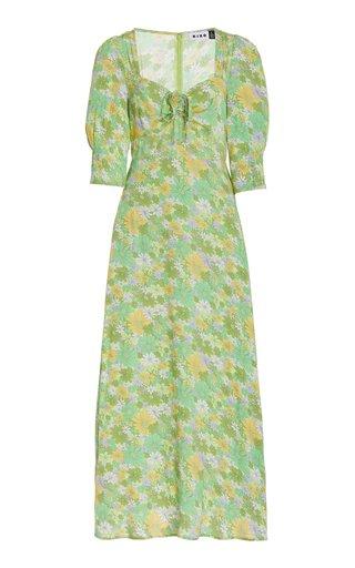 Naomi Daisy-Print Crepe Midi Dress