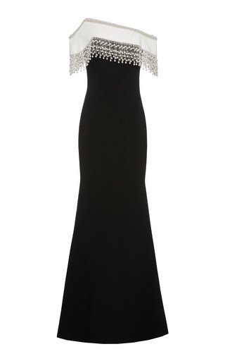 SpecialOrder-Stretch Crepe Off The Shoulder Gown With Pearl Fringe-YB