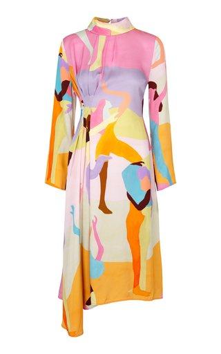 Arlinda Draped Printed Crepe Midi Dress