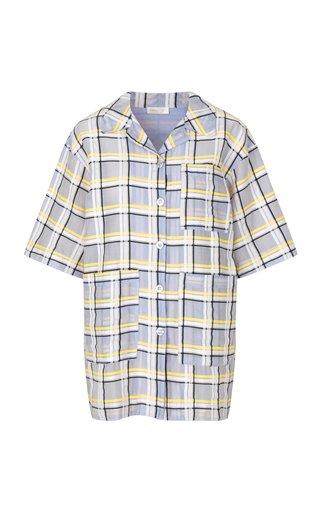 Skyla Oversized Checked Cotton-Silk Shirt