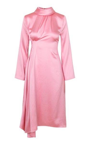 Arlinda Draped Satin Midi Dress