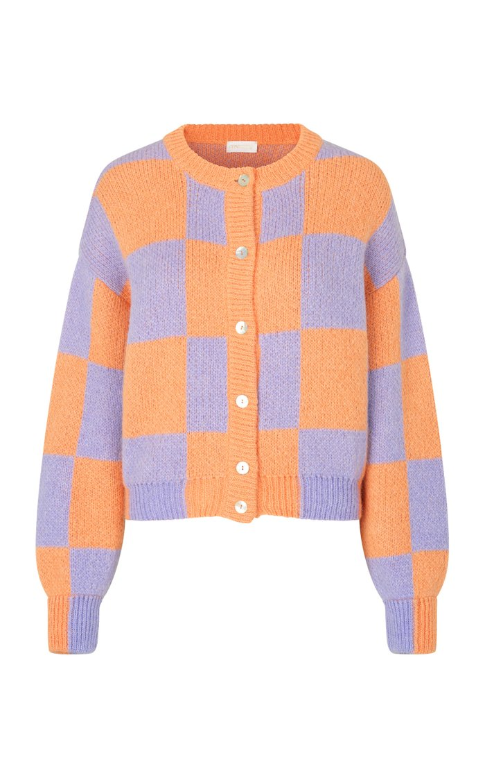 Ash Oversized Checked-Knit Cardigan