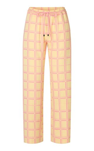 Gulcan Check-Print Satin Drawstring Wide-Leg Pants