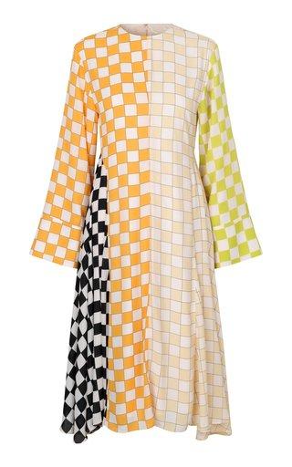 Alisha Mixed-Check Crepe Midi Dress