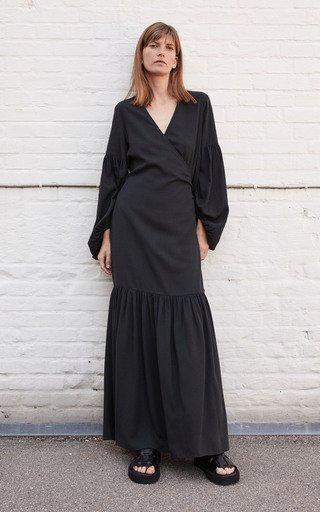 Frilla Textured Maxi Wrap Dress
