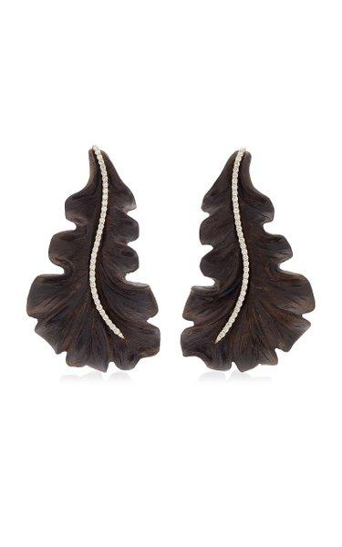 Leaf 18K Yellow Gold Ebony, Diamond Earrings