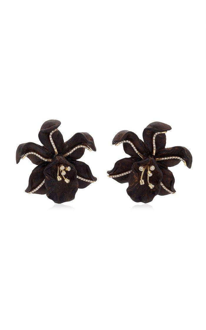 Orchid 18K Yellow Gold Ebony, Diamond Earrings
