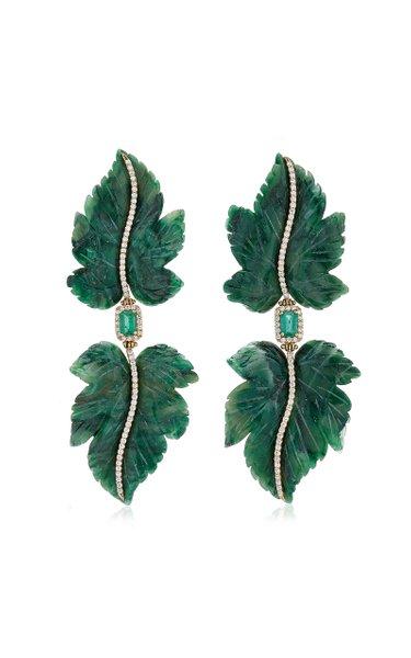 Double Leaf 18K Yellow Gold Jade, Emerald, Diamond Earrings