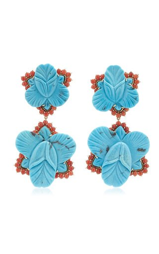 Orchid 18K Yellow Gold Turquoise, Coral Earrings