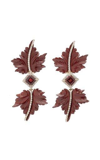 Double Leaf 18K Yellow Gold Jasper, Garnet, Diamond Earrings