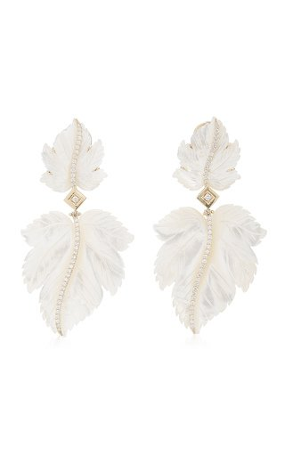 Double Leaf 18K Yellow Gold Mother-Of-Pearl, Diamond Earrings