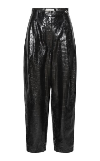 Cleo Pleated Croc-Effect Leather Wide-Leg Pants