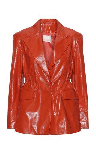 Carla Leather Single-Breasted Blazer