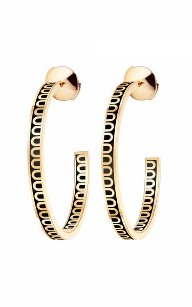 L'Arc 18K Yellow Gold and Lacquered Ceramic Hoop Earrings