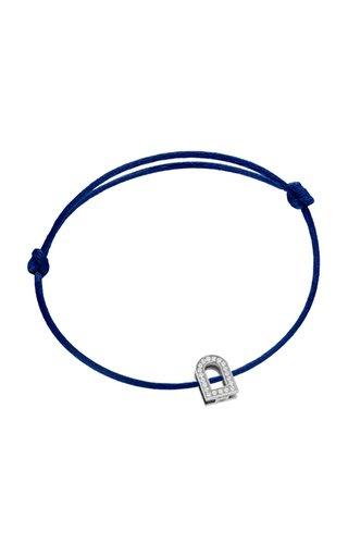 L'Arc Voyage 18K White Gold, Diamond and Silk Cord Bracelet