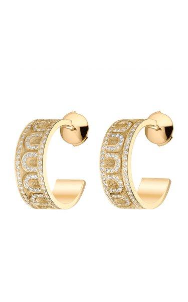 L'Arc 18K Yellow Gold Diamond Hoop Earrings